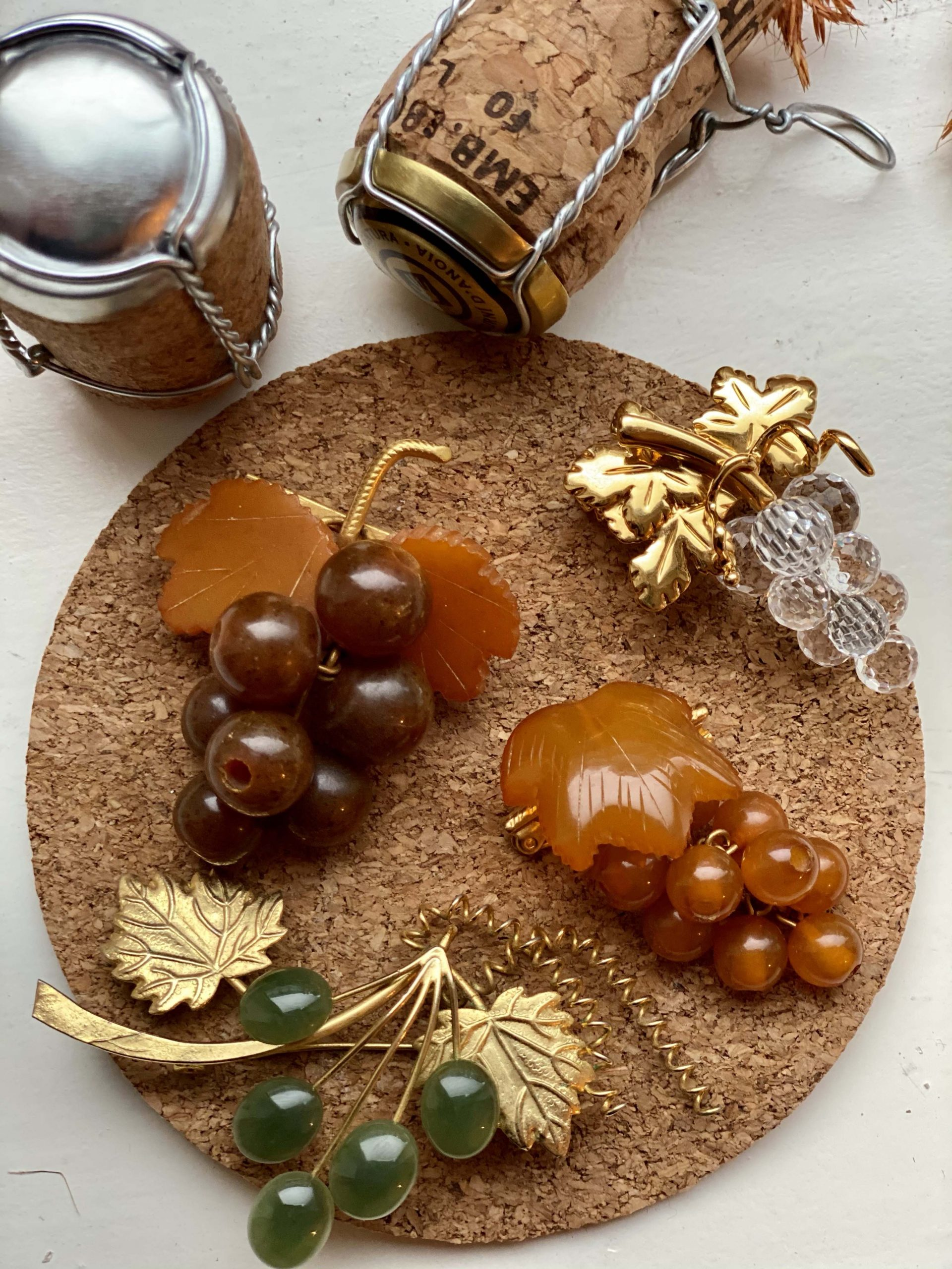 vintage grape brooches